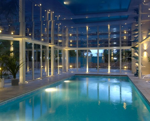 Swimming Pool with stretch ceiling